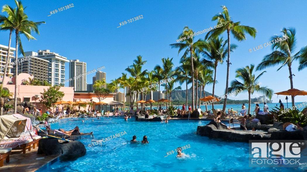 Stock Photo: Swimming Pool  Waikiki Beach  Honolulu O'ahu Hawaii  United States.