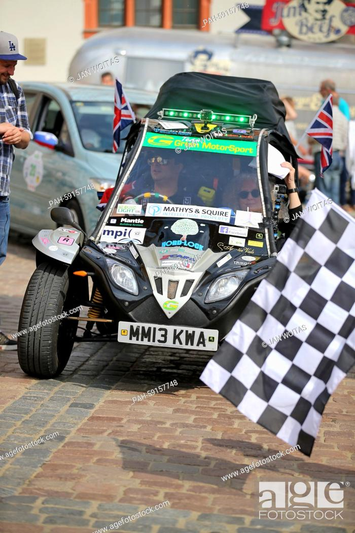 """Stock Photo: The English team """"""""Greenmotorsports 1"""""""" starts the Wave Trophy in a GMS Tapir in Plauen, Germany, 13 June 2015. The 5th Elektrorallye Wave Trophy runs from."""
