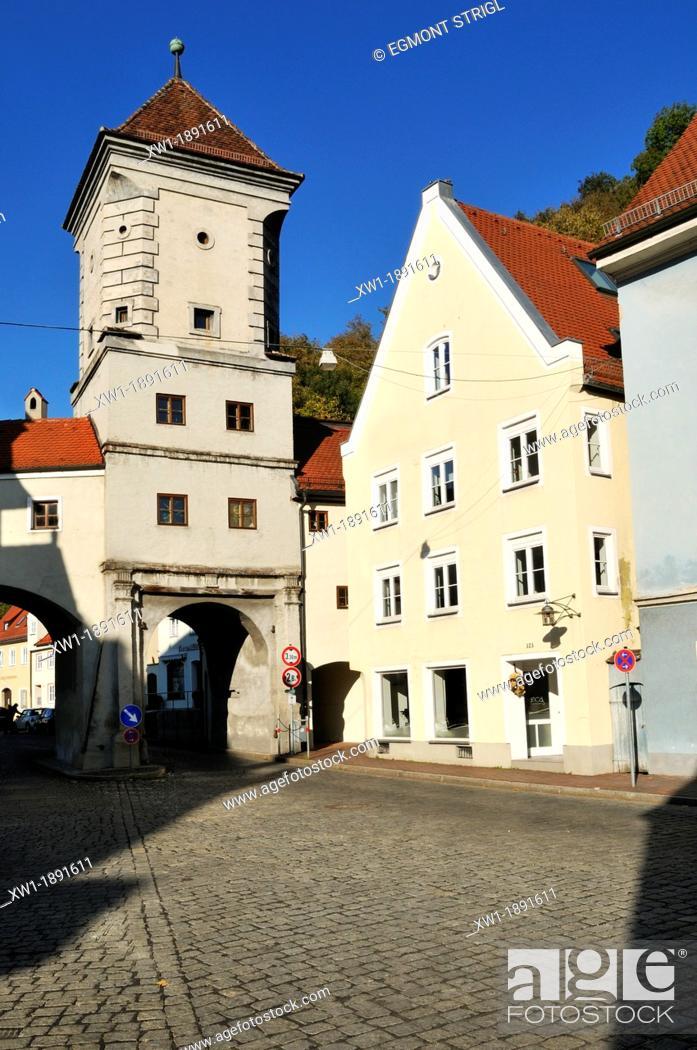 Stock Photo: historic city gate, Sandauer Tor, Landsberg am Lech, Upper Bavaria, Germany, Europe.
