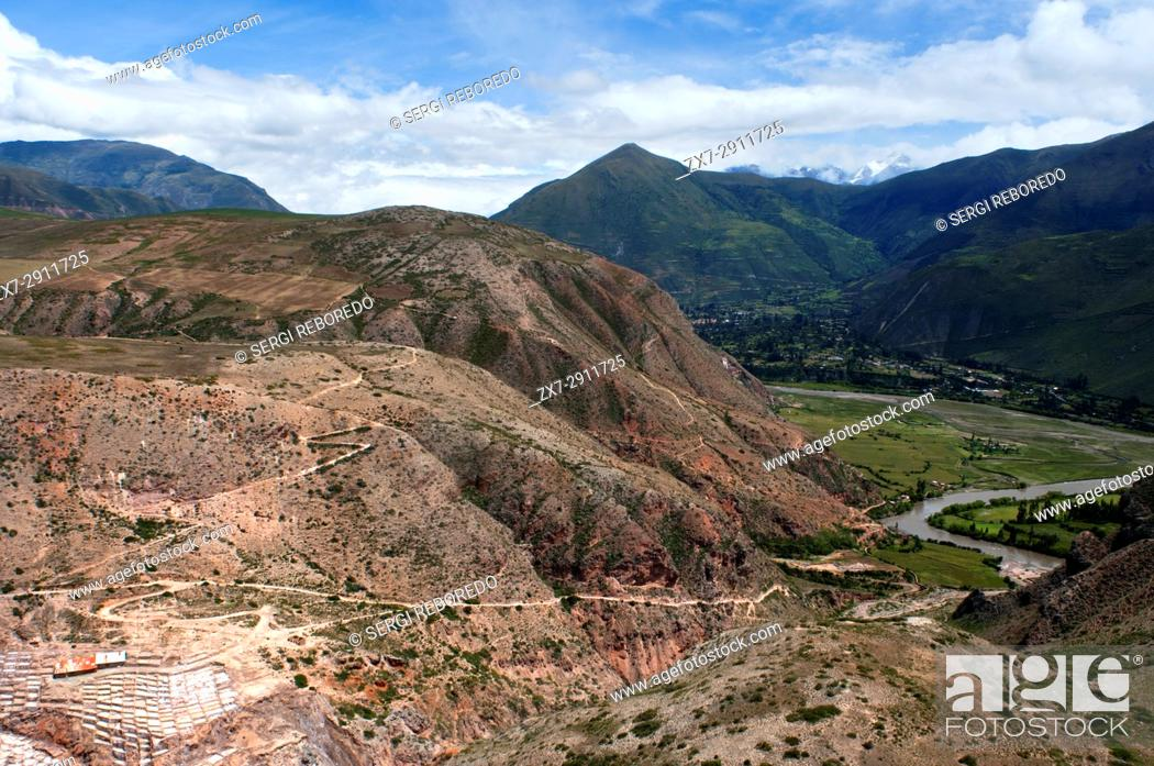 Stock Photo: General view of the Sacred Valley near Cuzco from the salt mines of Maras. The Sacred Valley of the Incas or the Urubamba Valley is a valley in the Andes of.