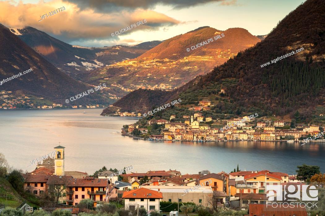 Stock Photo: Sulzano and Peschiera Maraglio on the lake of iseo lake in Brescia province, Lombardy district, Italy, Europe.