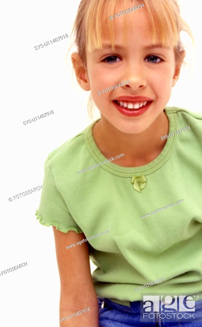 Stock Photo: A happy, young Caucasian girl.