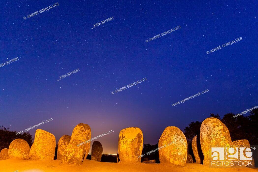 Stock Photo: Almendres Cromlech, Momtemor-o-Novo, Evora, Alentejo, Portugal, Europe.