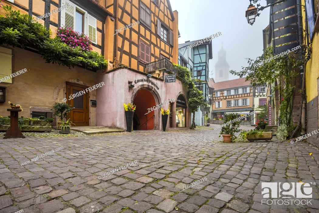 Stock Photo: scenic lane of the tourist destination Riquewihr, village of the Alsace Wine Route, France, cobblestone lane with vine and flower decoration in the autumn.