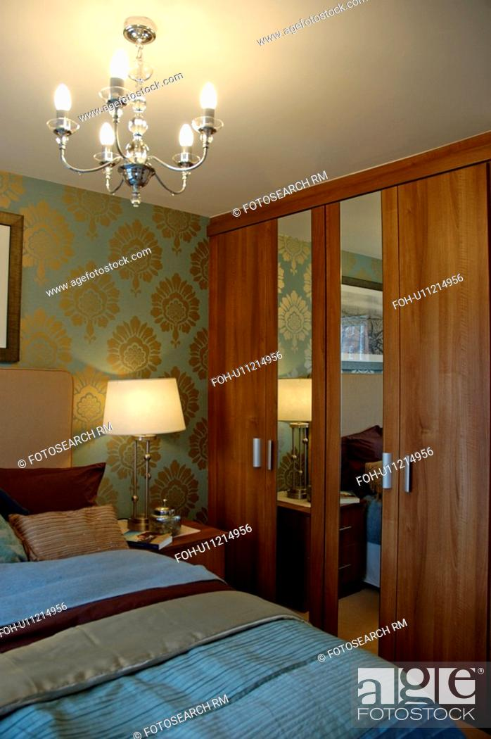 Stock Photo Ed Cupboards With Mirror In Modern Bedroom Lighting Lamp And Ceiling Light