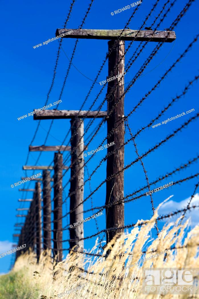 Stock Photo: remains of iron curtain, Cizov, Czech Republic.
