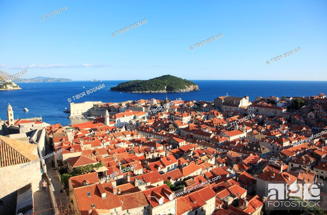 Stock Photo: Croatia, Dubrovnik, general aerial view, panorama,.
