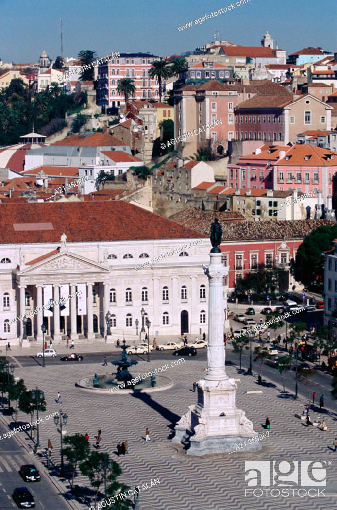 Stock Photo: D. Maria II National Theatre at Rossio Square. Lisbon. Portugal.