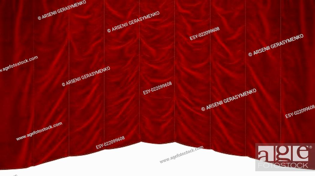 Stock Photo: Red theater Curtain with beautiful textile pattern.