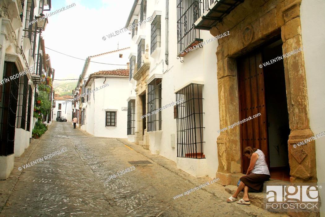Stock Photo: Street, Grazalema, Sierra de Grazalema Natural Park, Cadiz province, Andalusia, Spain.