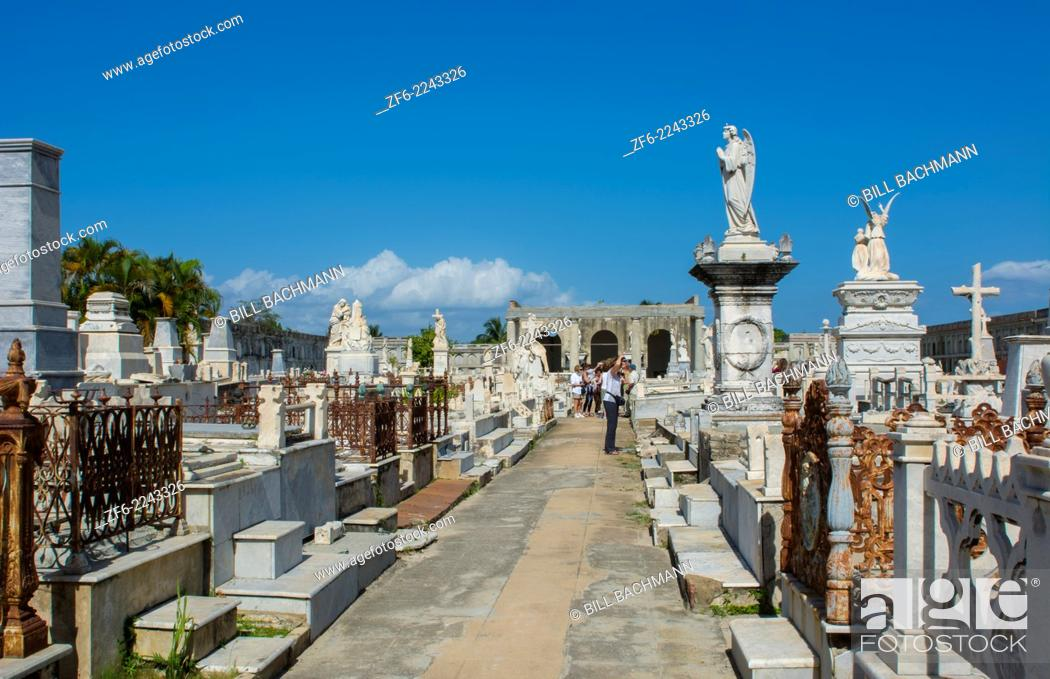 Stock Photo: Cienfuegos Cuba old beautiful cemetery called The Queen in 1839 also called General Cemetery with graves and statues.