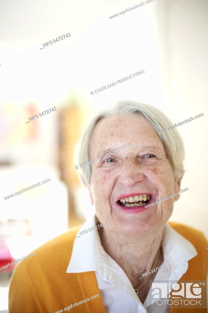 Stock Photo: Portrait of happy senior woman.