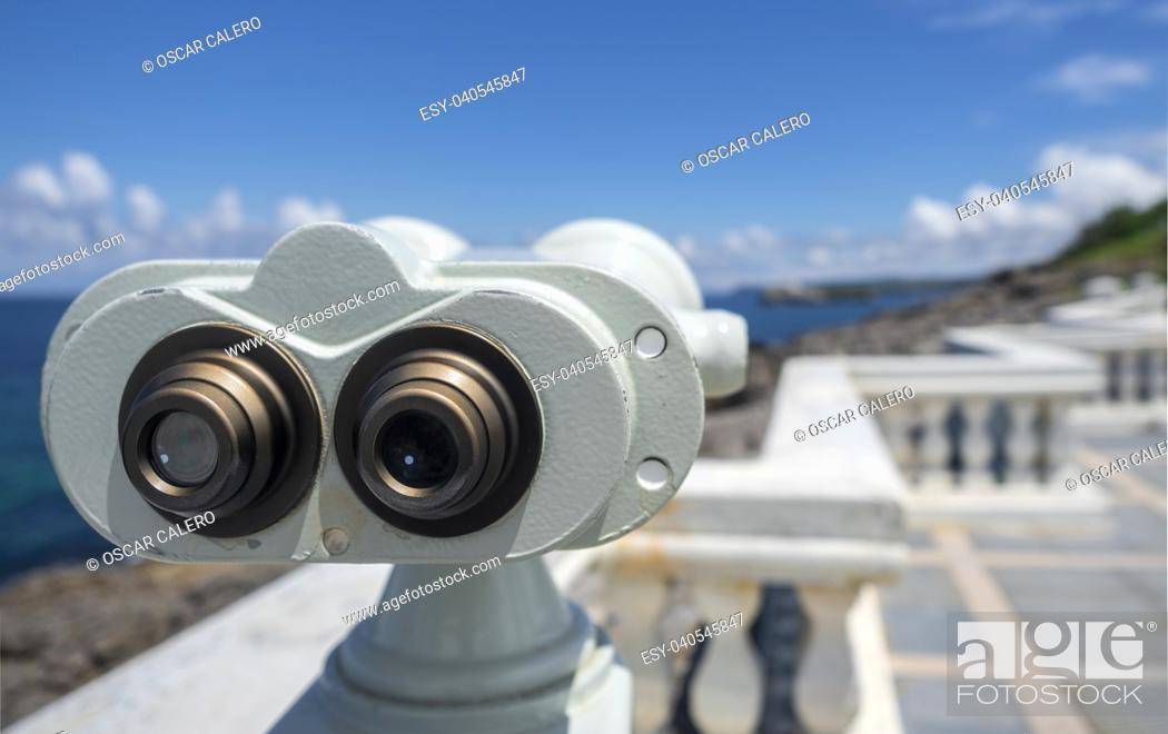Stock Photo: Big binoculars at Santander.