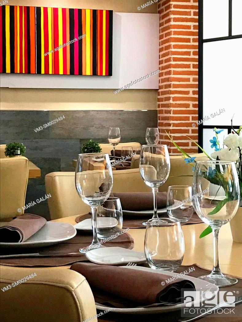 Stock Photo: Set table in a restaurant. Madrid, Spain.