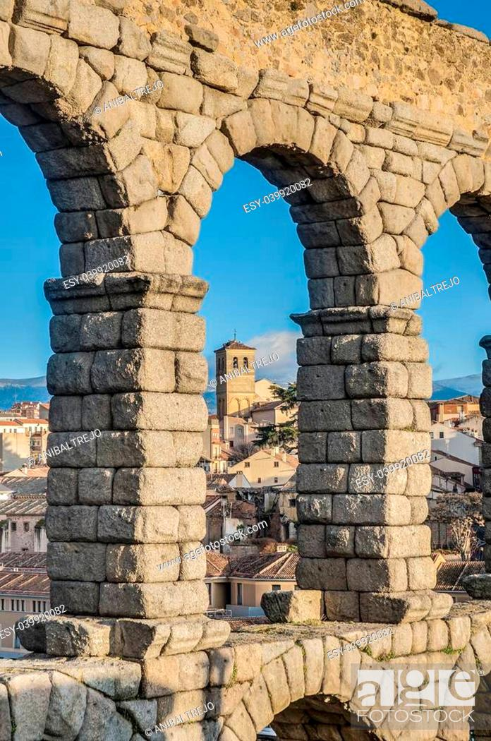 Stock Photo: Ancient roman aqueduct of Segovia at Castile and Leon, Spain.
