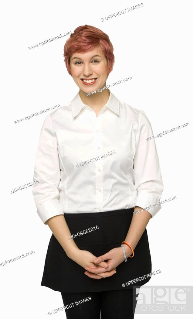 Stock Photo: Young woman with hands clasped.