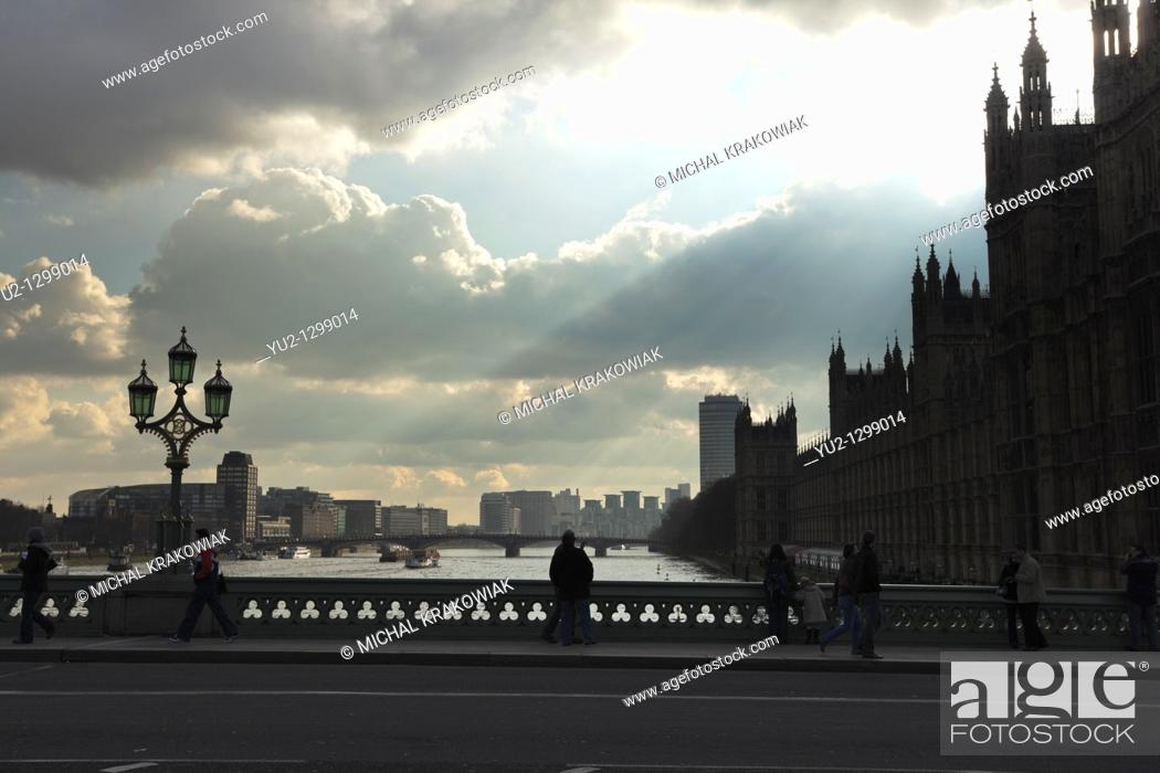 Stock Photo: Bridge and Palace of Westminster in London.