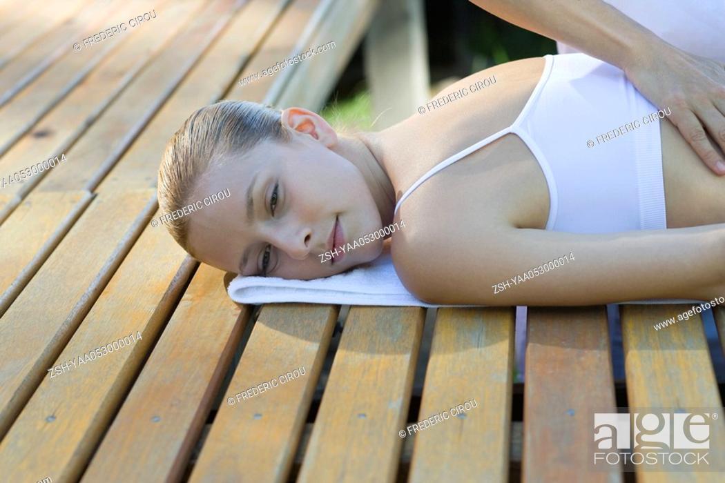 Stock Photo: Woman receiving back massage.