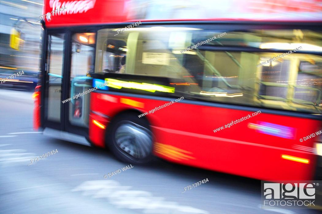 Stock Photo: Double-decker bus, London, England, United Kingdom.