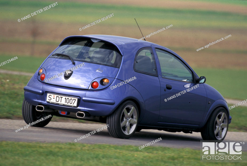 Stock Photo Car Ford Ka Wolf Limousine Miniapprox S Blue Model Year   Tuning Diagonal From The Back Rear View