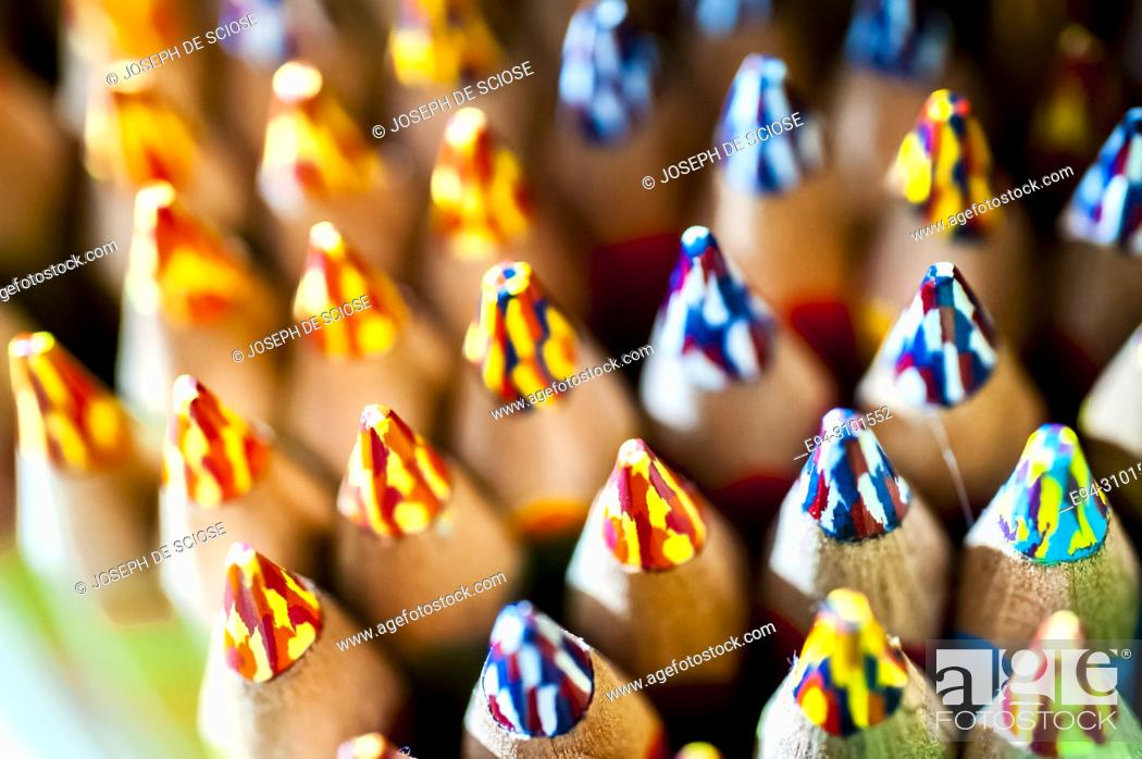 Stock Photo: A close-up of a display of multi-colored penciled tips.