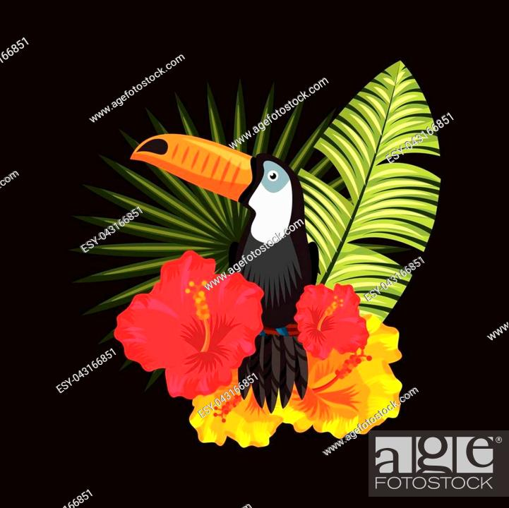 Tropical Toucan Hibiscus Palm Leaves Black Background Vector Illustration Stock Vector Vector And Low Budget Royalty Free Image Pic Esy 043166851 Agefotostock Free for commercial use no attribution required high quality images. 2