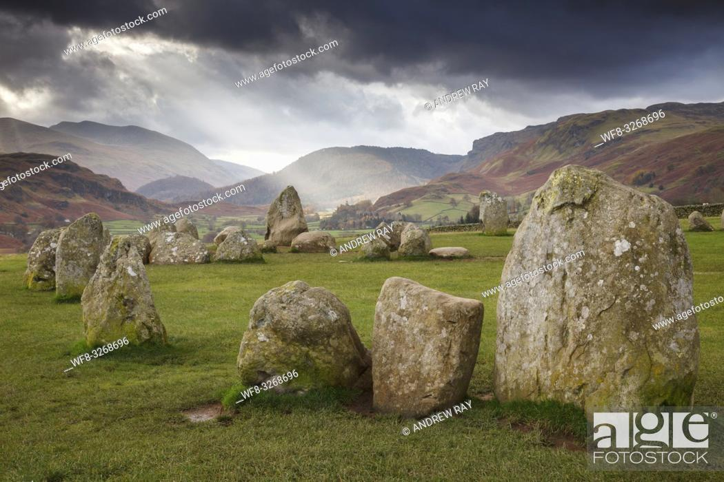 Stock Photo: Castlerigg Stone Circle in the Lake District National Park, captured on an atmospheric morning in early November.