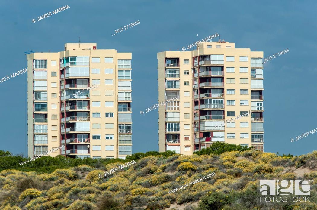 Stock Photo: Buildings between dunes, El Saler, Valencia, Spain.