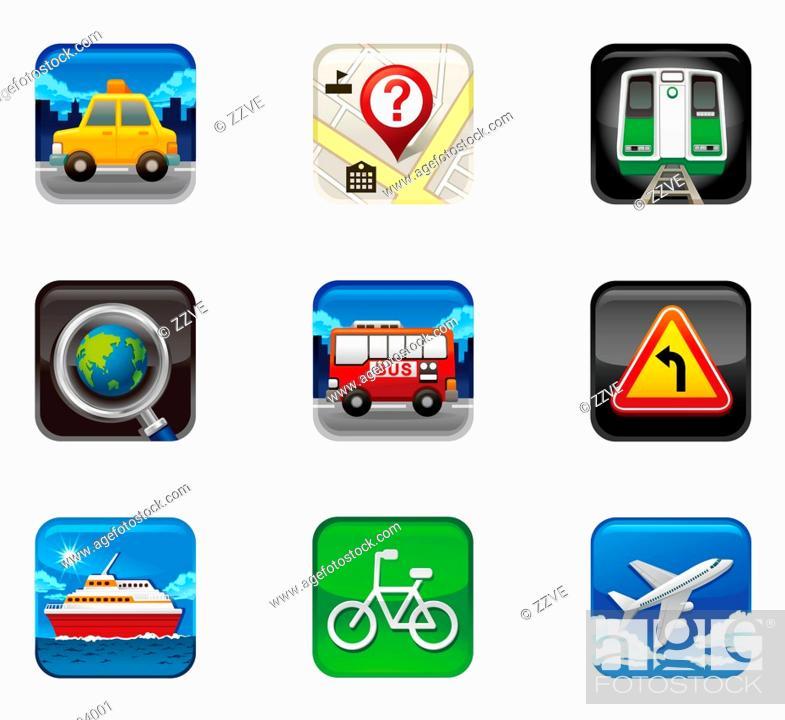 Stock Photo: Mode of transportation set icon.