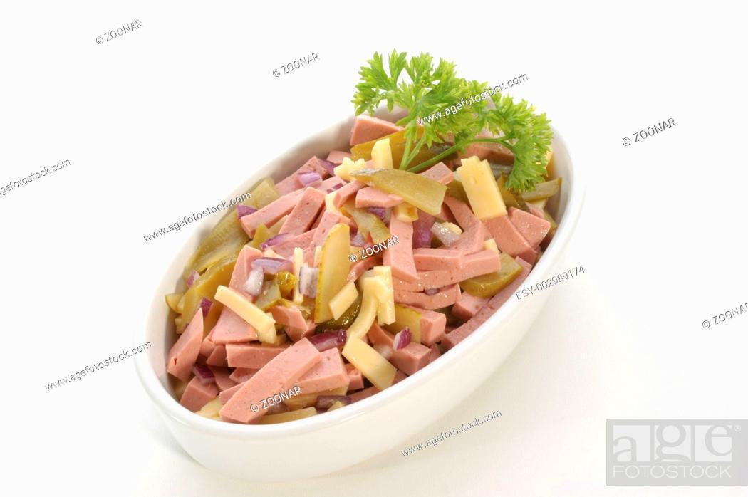 Stock Photo: Wurstsalat mit Kaese und Gewürzgurke.
