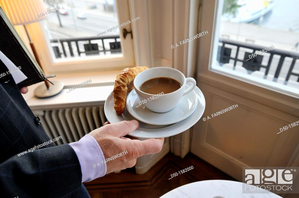 Stock Photo: STOCKHOLM SWEDEN Coffee and croisant at business meeting.