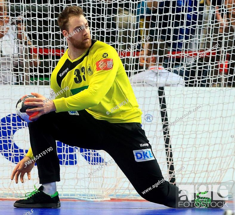 822347b347b5ad Stock Photo - Germany s goal keeper Andreas Wolff reacts during the 2016  Men s European Championship handball group 2 match between Germany and  Denmark at ...