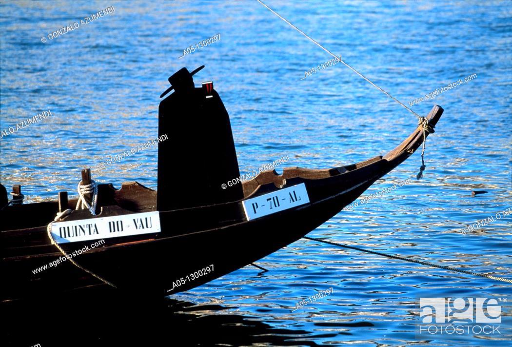 Stock Photo: Boats of the Porto winneries over Duero River. Porto. Portugal.