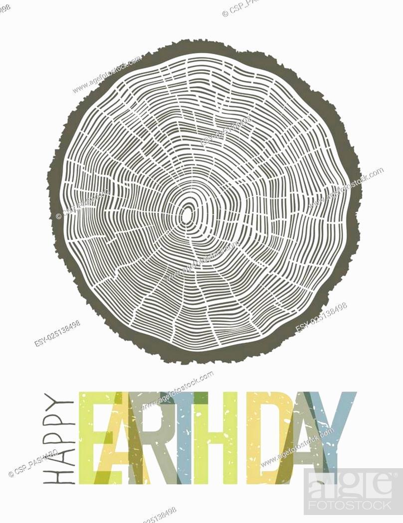 Stock Vector: Happy Earth Day Design Concept. Tree rings symbolic illustration.