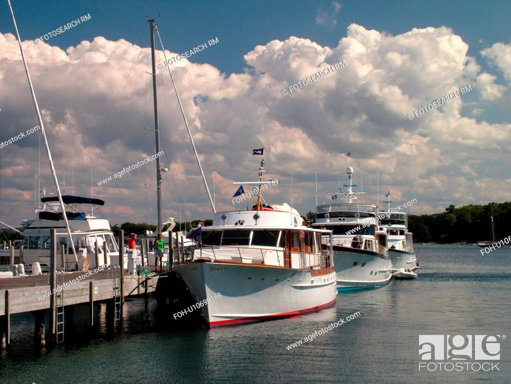 Stock Photo: Harbor Springs, MI, Michigan, Lake Michigan, marina, pier, dock, boats.
