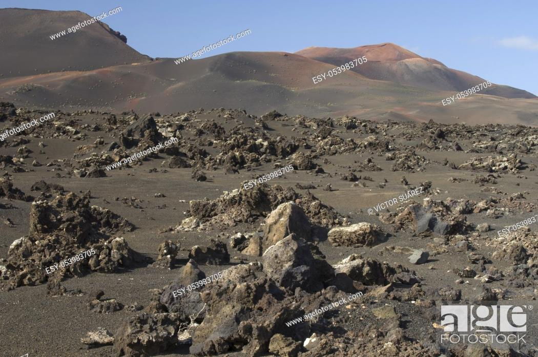 Stock Photo: Volcanic landscape. Timanfaya National Park. Lanzarote. Canary Islands. Spain.