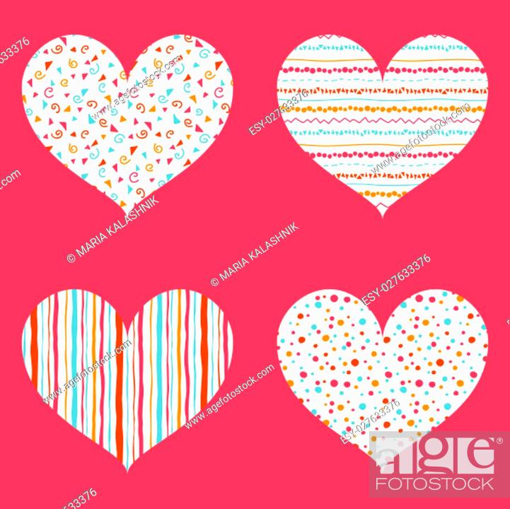 Stock Photo: Hearts seamless pattern. St. Valentines day. Cute set with pink, orange, red, light blue and white hearts with color points, flourishes.