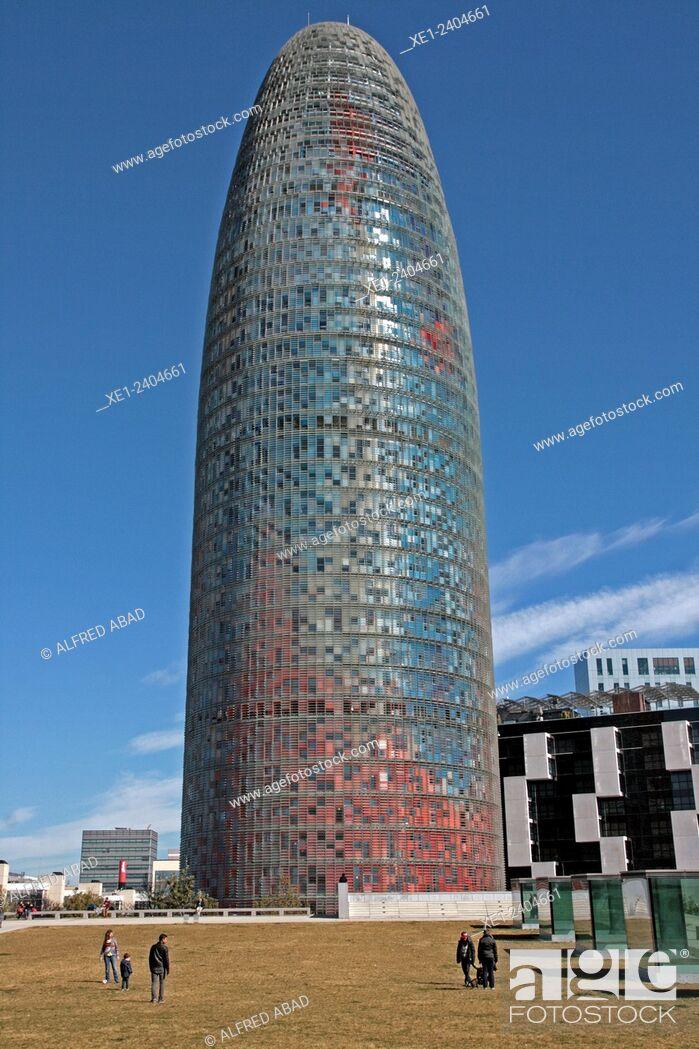 Stock Photo: Torre Agbar, Barcelona, Catalonia, Spain.