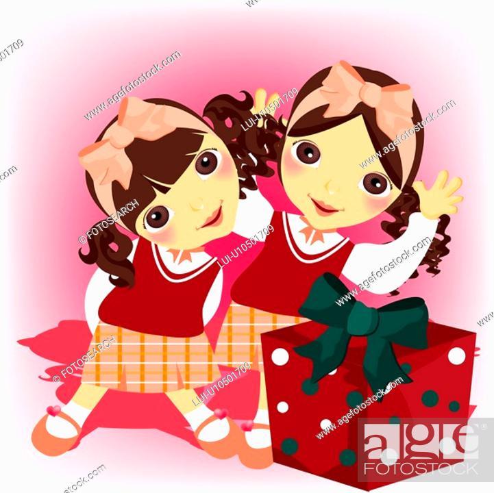 Stock Photo: gift, children, event, school uniform, girl, child.