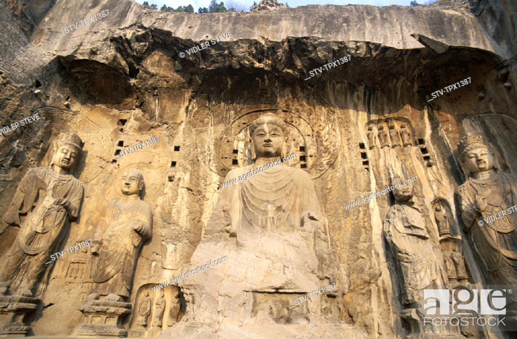Stock Photo: Ancestor, Asia, Buddhist, Caves, China, Henan, Heritage, Holiday, Landmark, Longmen, Luoyang, Province, Tang dynasty, Temple, To.