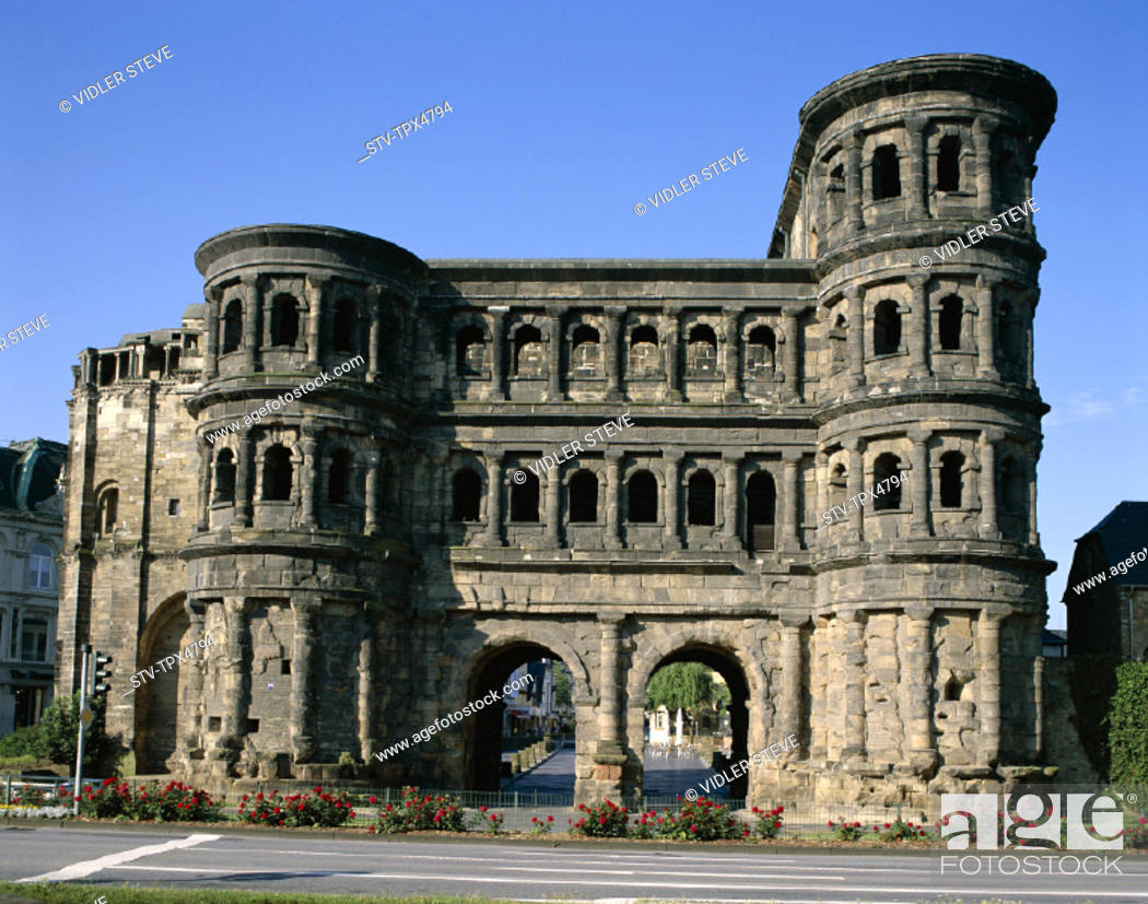 Stock Photo: Black gate, Germany, Europe, Heritage, Holiday, Landmark, Mosel, Porta nigra, Rhineland, Tourism, Travel, Trier, Unesco, Vacatio.