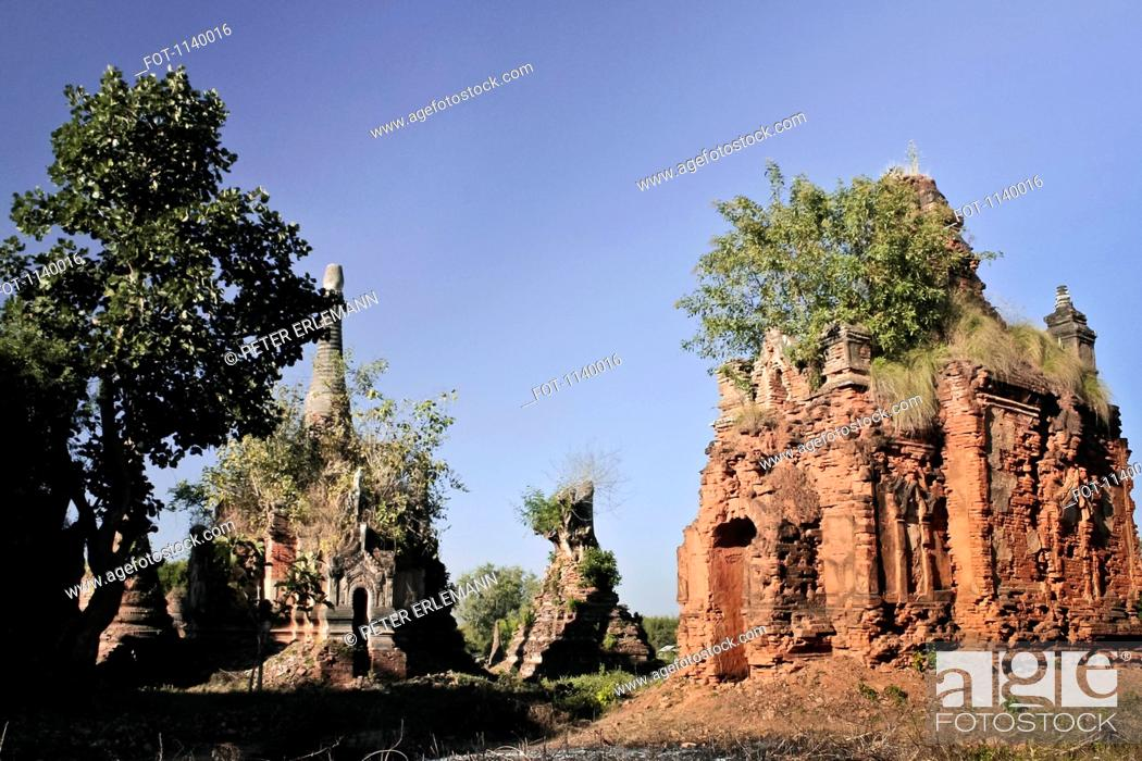 Stock Photo: An old crumbling temple in an Indein Village, Inle Lake, Burma.