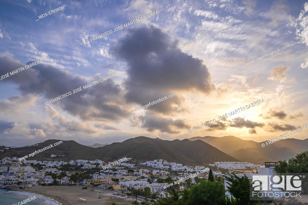 Stock Photo: San Jose, town of Almeria, Spain. Very touristic place. Under a spectacular sky at sunset.