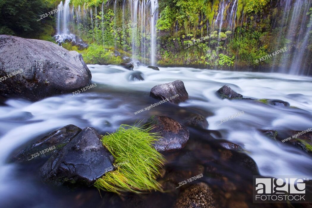 Stock Photo: Evening warm light at Mossbrae Falls, Shasta National Forest, California, USA.