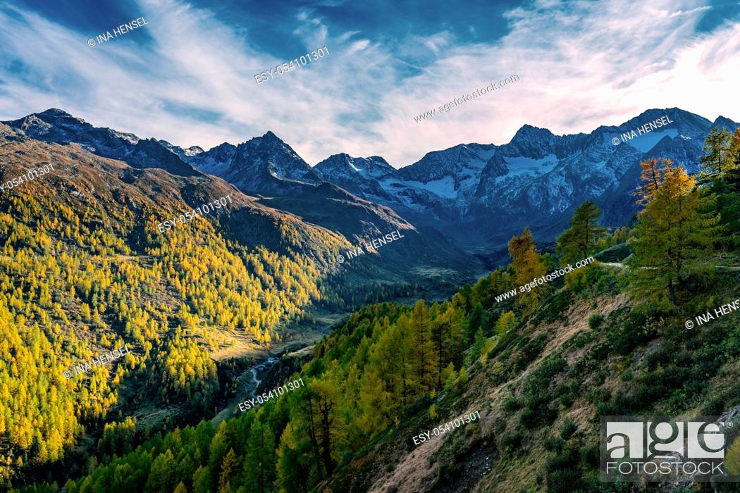 Stock Photo: Panoramic view of the Passeier valley with the Seeberalm (Malga del Lago) with the high rising alp mountains of the Texelgroup (Gruppo di Tessa) covered with.