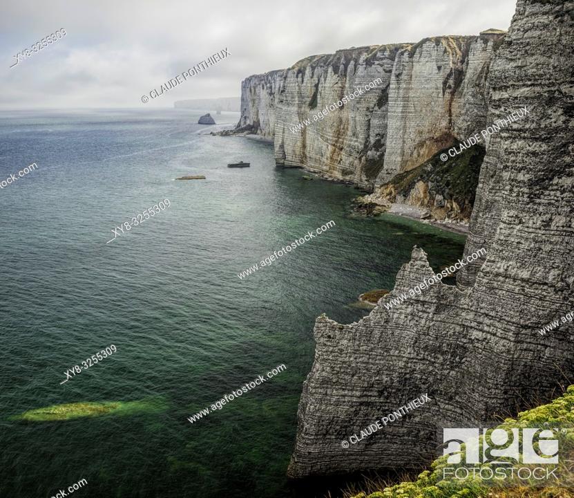 Stock Photo: Côte d'Albâtre Cliffs, Étretat, Normandy; France.