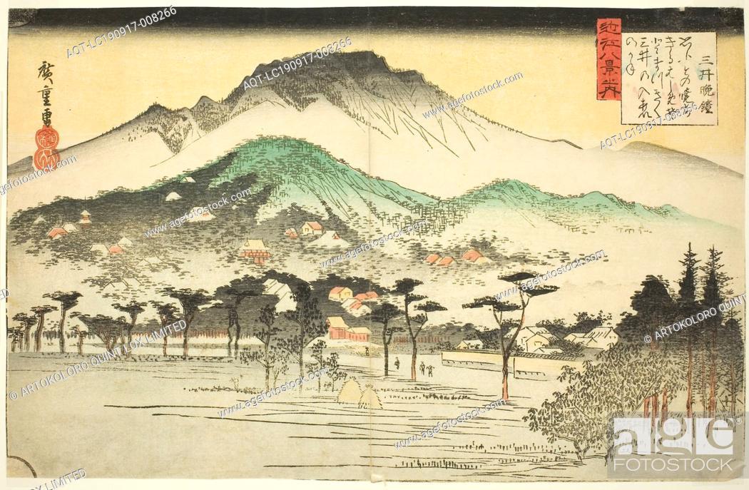 Stock Photo: Evening Bell at Mii Temple (Mii bansho), from the series Eight Views of Omi (Omi hakkei no uchi), c. 1834, Utagawa Hiroshige ?? ??, Japanese, 1797-1858, Japan.