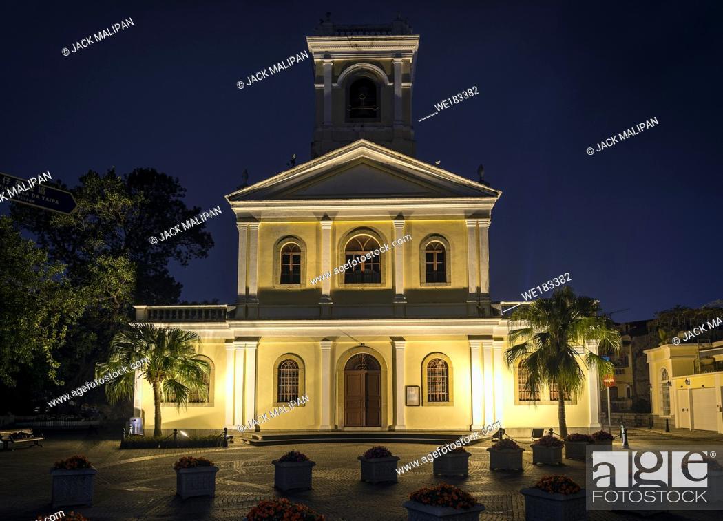 Stock Photo: our lady of carmo landmark portuguese colonial architecture church in taipa macau china.