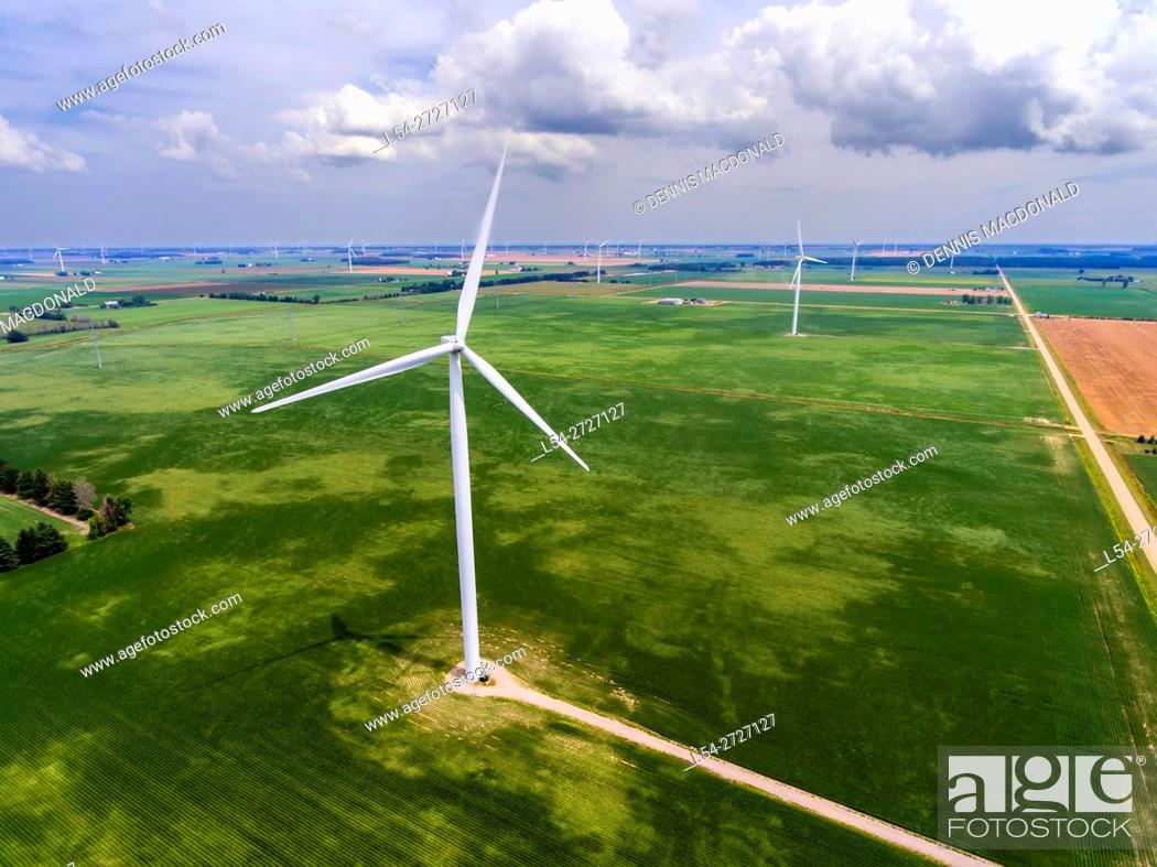 Stock Photo: Aerial view of Wind turbines producing electrical energy in Ubly Michigan.