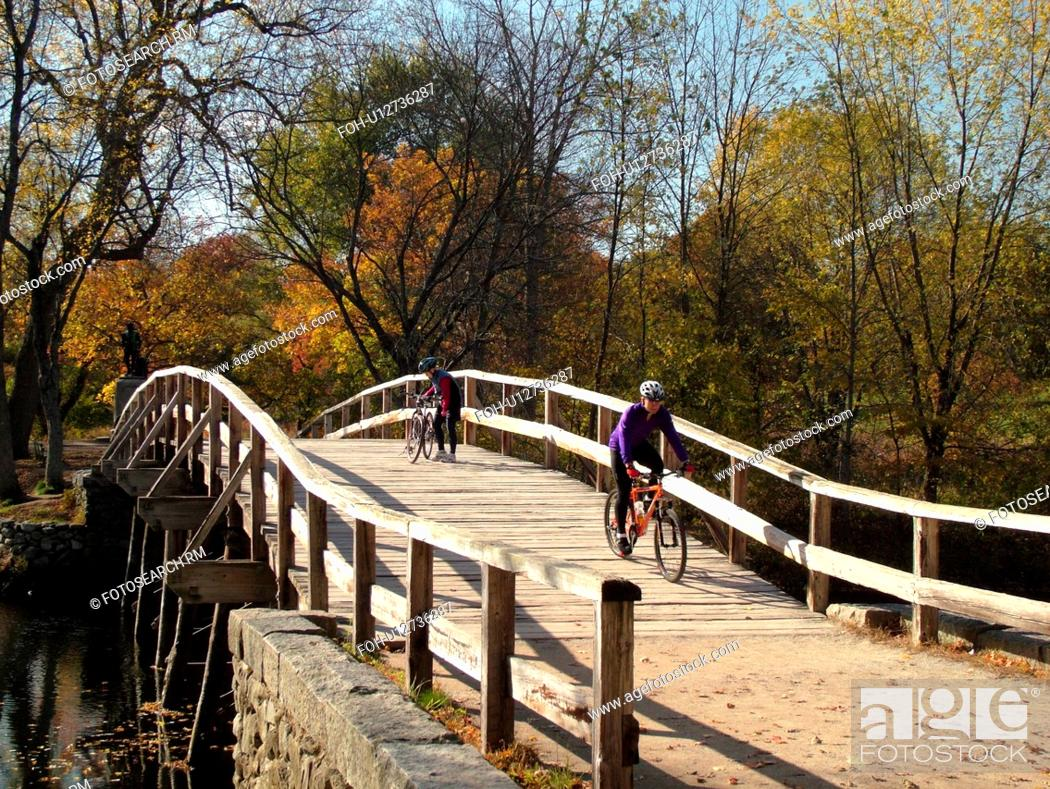 Photo de stock: Concord, MA, Massachusetts, Lexington, Minute Man National Historical Park, North Bridge.